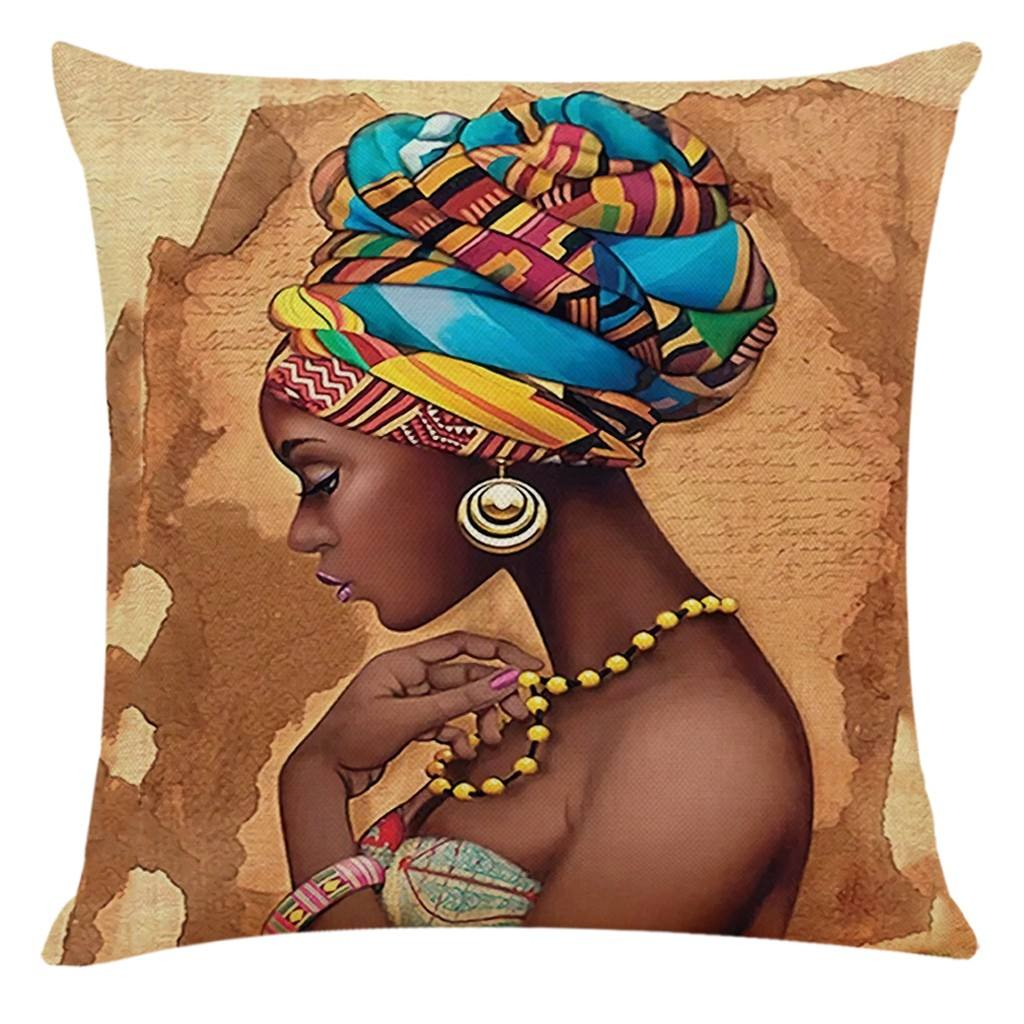 African Women Style Printed Cushion Home Decor Cushion Cover African Women Pillowcase Throw Pillow Covers For Bedroom