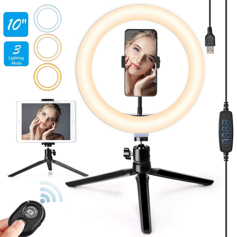 10Inch 3 Modes 10 Brightness Levels 3000K-6000K ring fill light 120 Led light rings with Tripod Stand Makeup led ring light