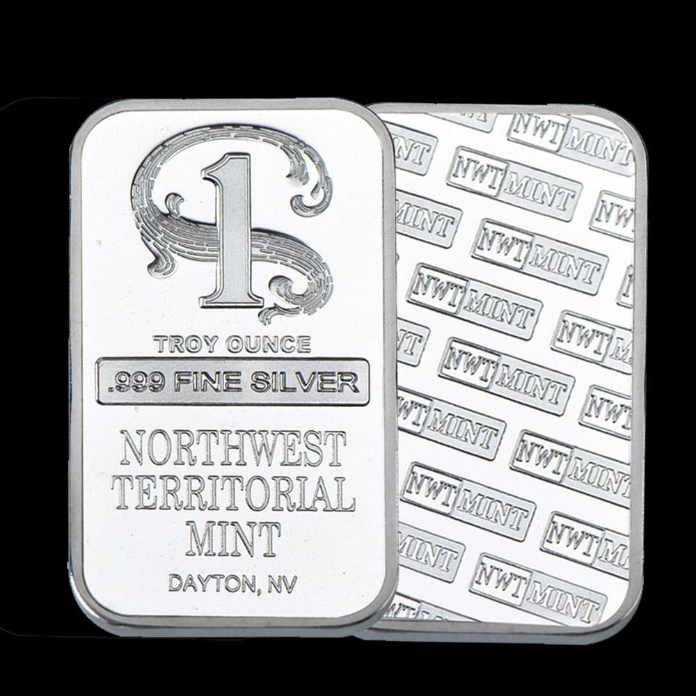 High Quality Silver Plated Metal Bar Northwest Territorial Mint Art Crafts Bullion Bar Silver Coin for Home Collection Souvenir