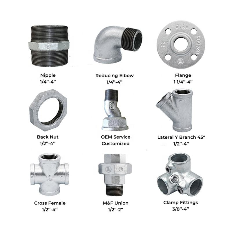 JIANZHI Street Elbow Taper Union Gi Flange Galvanised Y Pipe Fitting