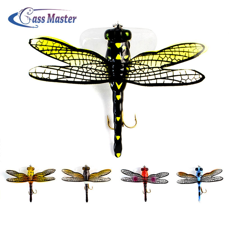 Bassmaster Fishing Bait Lure Hook 6g 75mm Life-like Dragonfly Floating Fly Fishing bait Hook Insect Lure