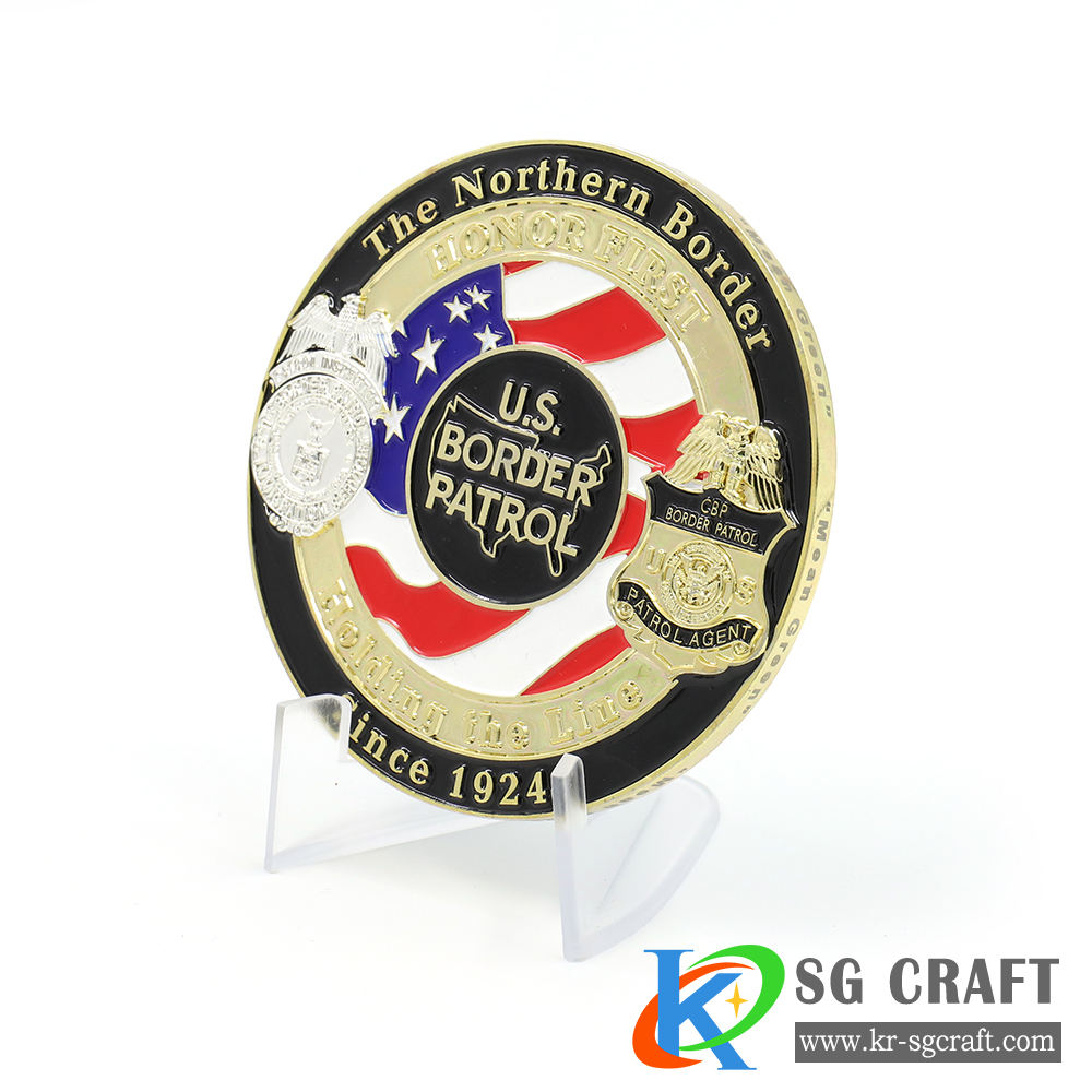 Custom 3D zinklegering messing metal enamel security goud uitdaging munt met logo voor collectible en souvenir