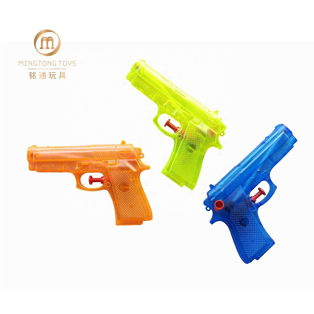 Summer outdoor transparent plastic custom logo hand held toy water gun for kids small