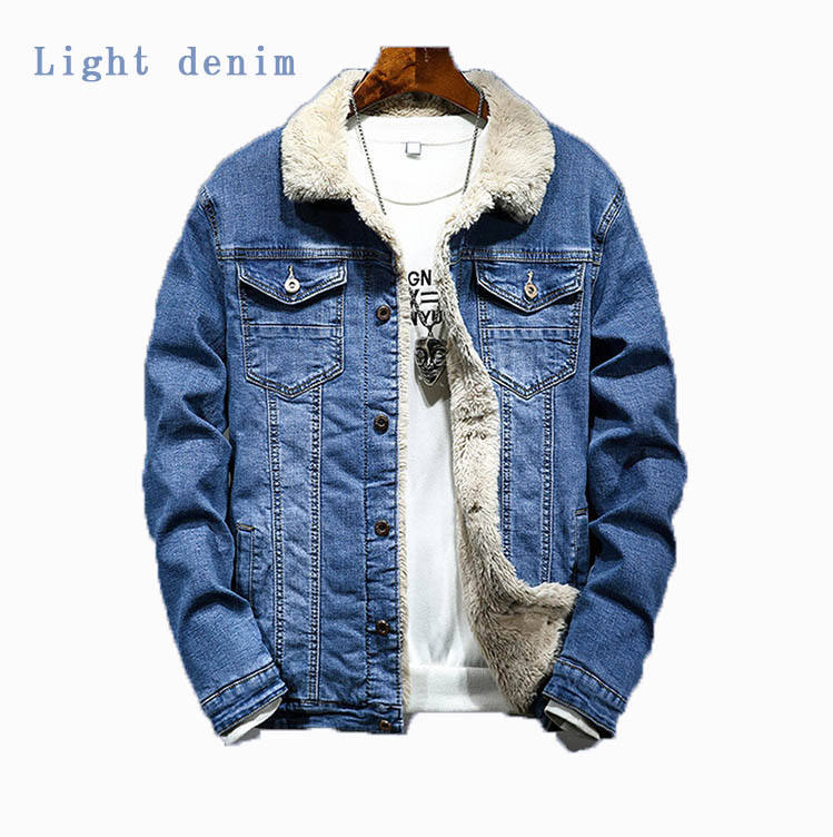 Hot selling men's fluffy lining warm denim jacket denim coat for winter and new year