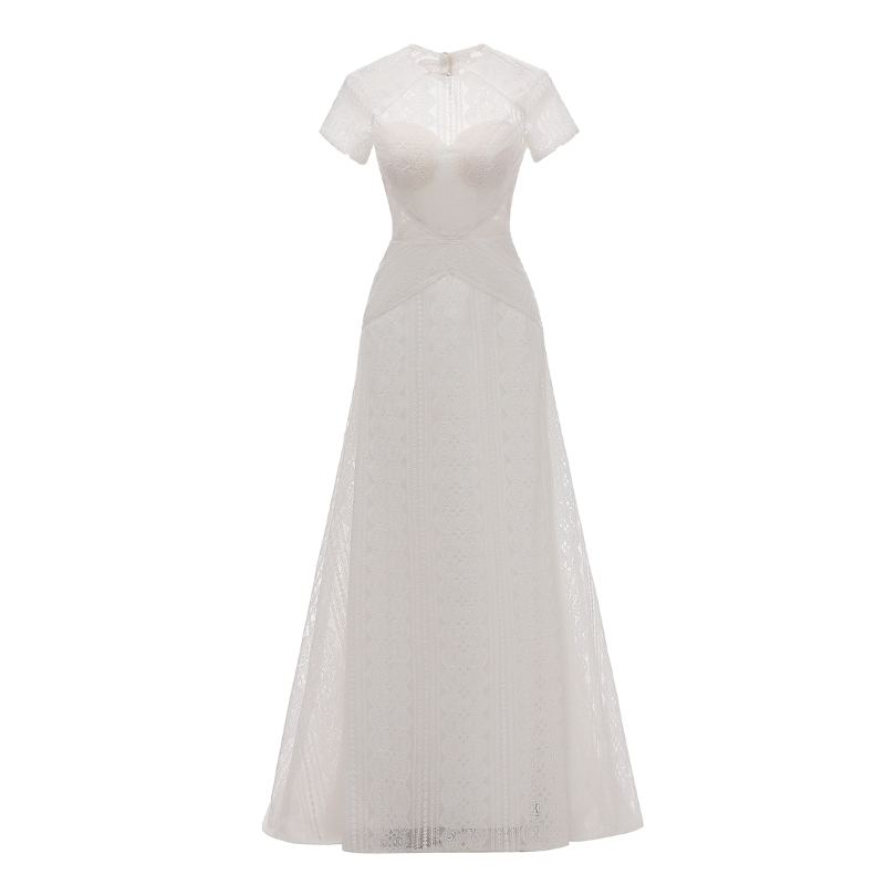 #1030 Ready To Ship Custom Made Lace Elegant Short Sleeve Sheath White Elegant Honey Moon Wedding Bridal Dress Gown