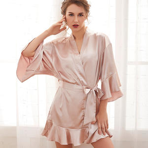 New Arrival Wholesale Satin Dress Ice Noble Luxury Lace Silk Robe