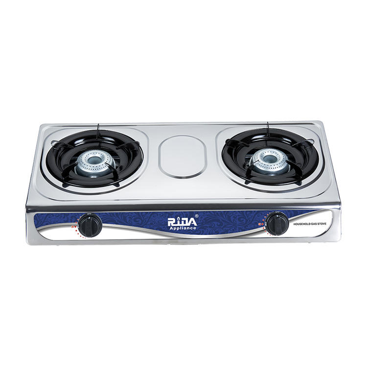 Home kitchen high quality cooking appliance stainless steel commercial cooktop 2 burner gas cooker stove price top