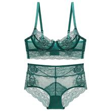 Li Yan Plus Size Mesh Retro Embroidery Sexy Bra French Style Underwear Transparent Flower Lace Bra And Panty Set