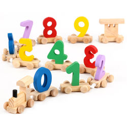 Wooden digital train toddling car Children's Early Education Intelligence toys