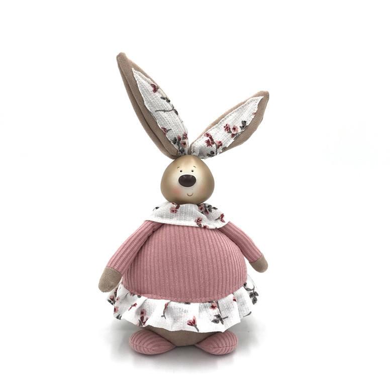 イースターホリデーギフト装飾ピンク生地クラフトウサギホームインテリアブロッサムバニードアストッパービッグラウンド腹