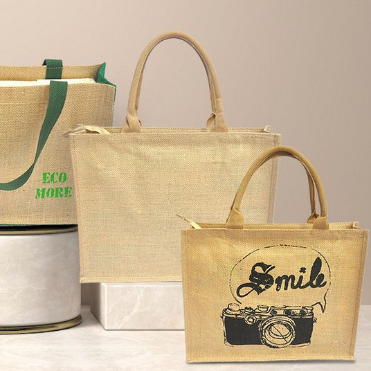 Eco life Linen bag custom logo for gift Green shopping hand bag