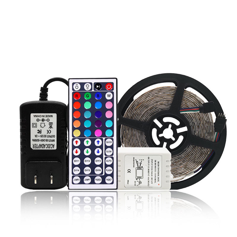 PCB 5M 12V 24W IP65 Waterproof RGB Color Marquee SMD 3528 LED Strip With 24/44 Keys Remote Control Set