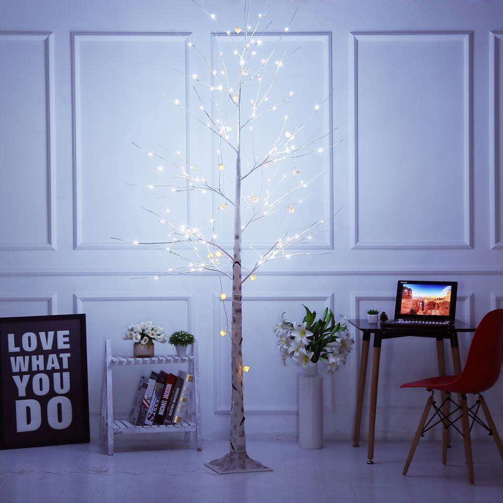 Bolylight LED 8ft136L Birch Tree Xmas lights outdoor tree lights Decorations for Home/Bedroom/Party/Garden