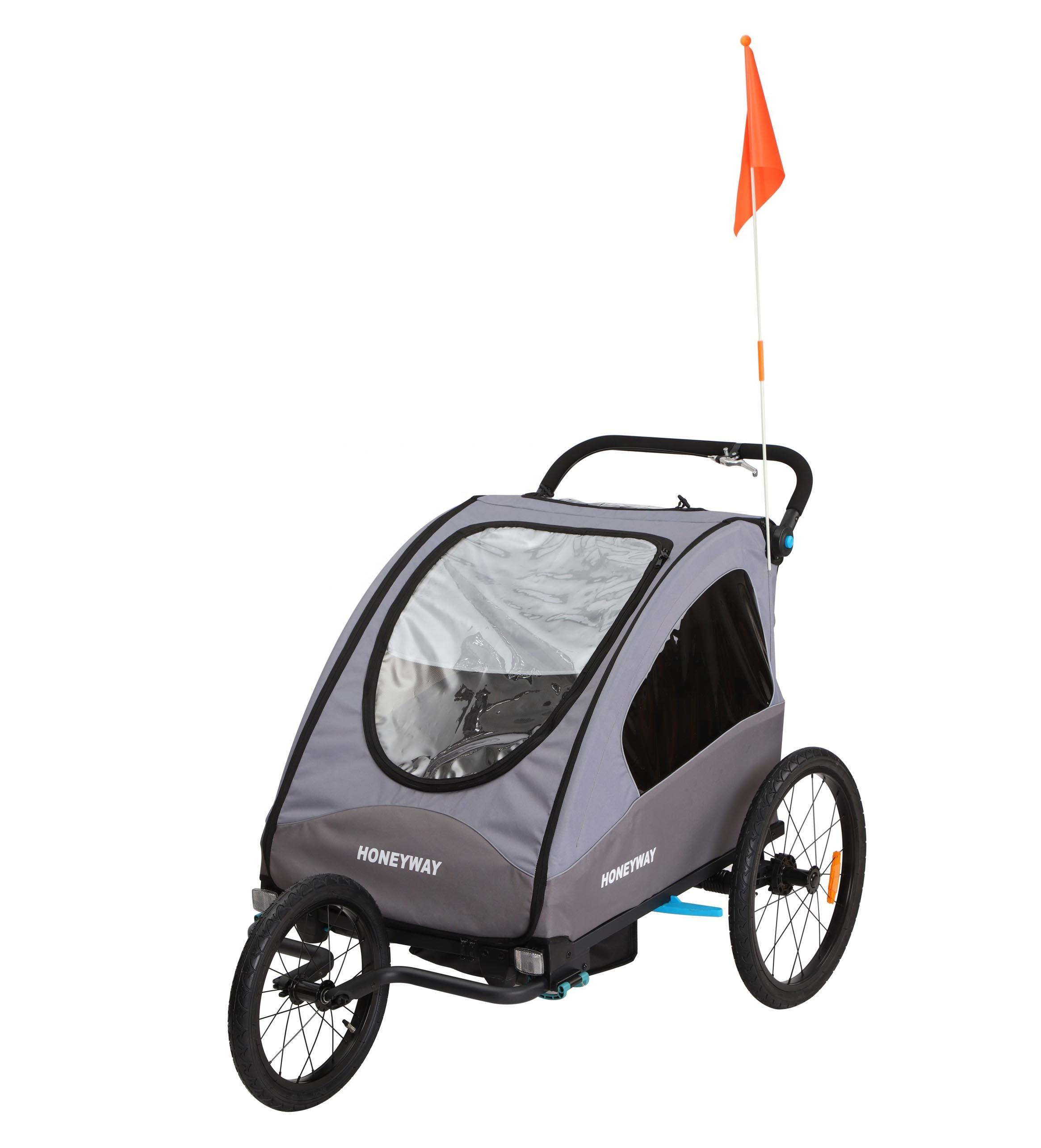 Foldable kids twin bicycle bike trailer and baby stroller with EN15918