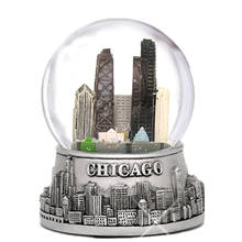 Chicago snow globe,silver base and color inside glass globe resin crafts