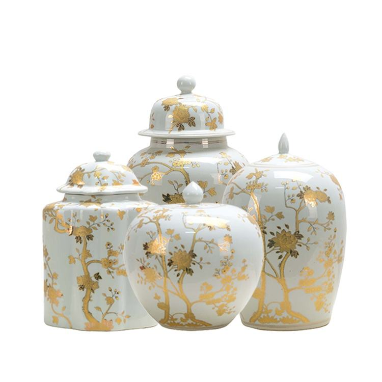 Good Quality Mini Antique Design Decorated Ceramic Porcelain Gold Flower Pattern Temple Jar White Ginger Jar With Lid