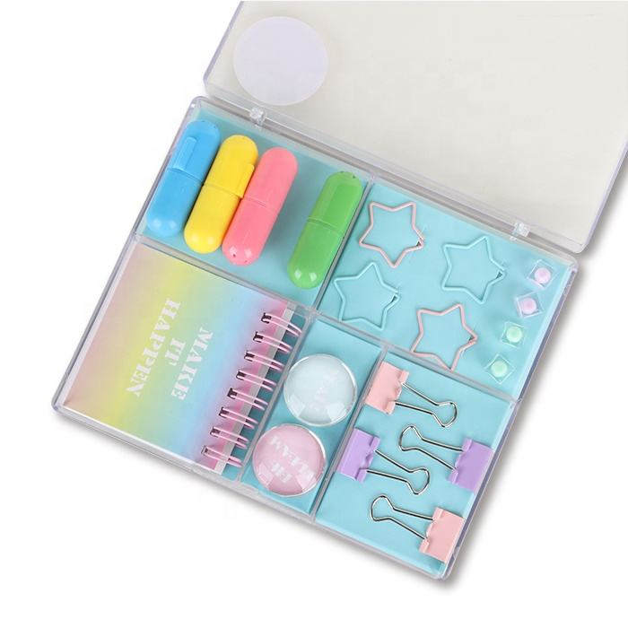 Stationery Set Kids School Back To School Customized Kawaii Pastel Stationery Set Marker Pen Paper Clips Set