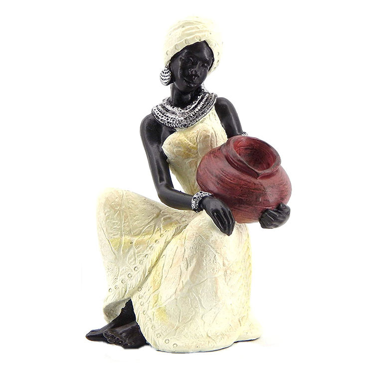 Resin table top black women sculpture statue african decoration, african woman figurine$