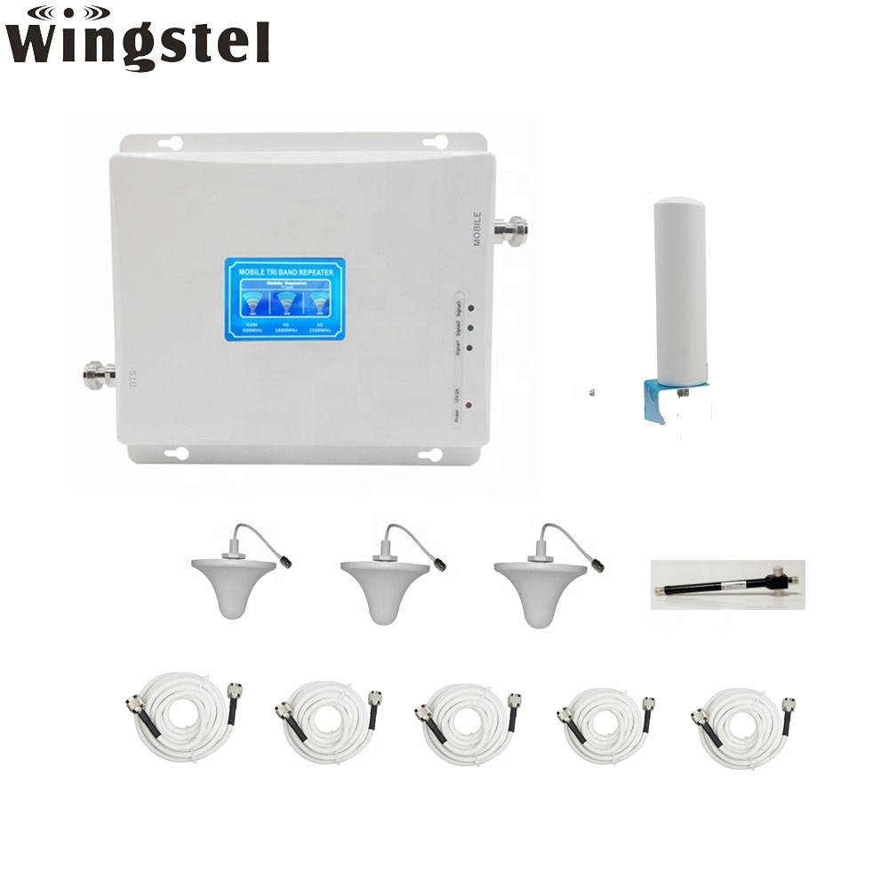 300-750 square meters 2g 3g 4g LTE 900 1800 2600 MHz mobile signal repeater with 3pcs indoor antennas