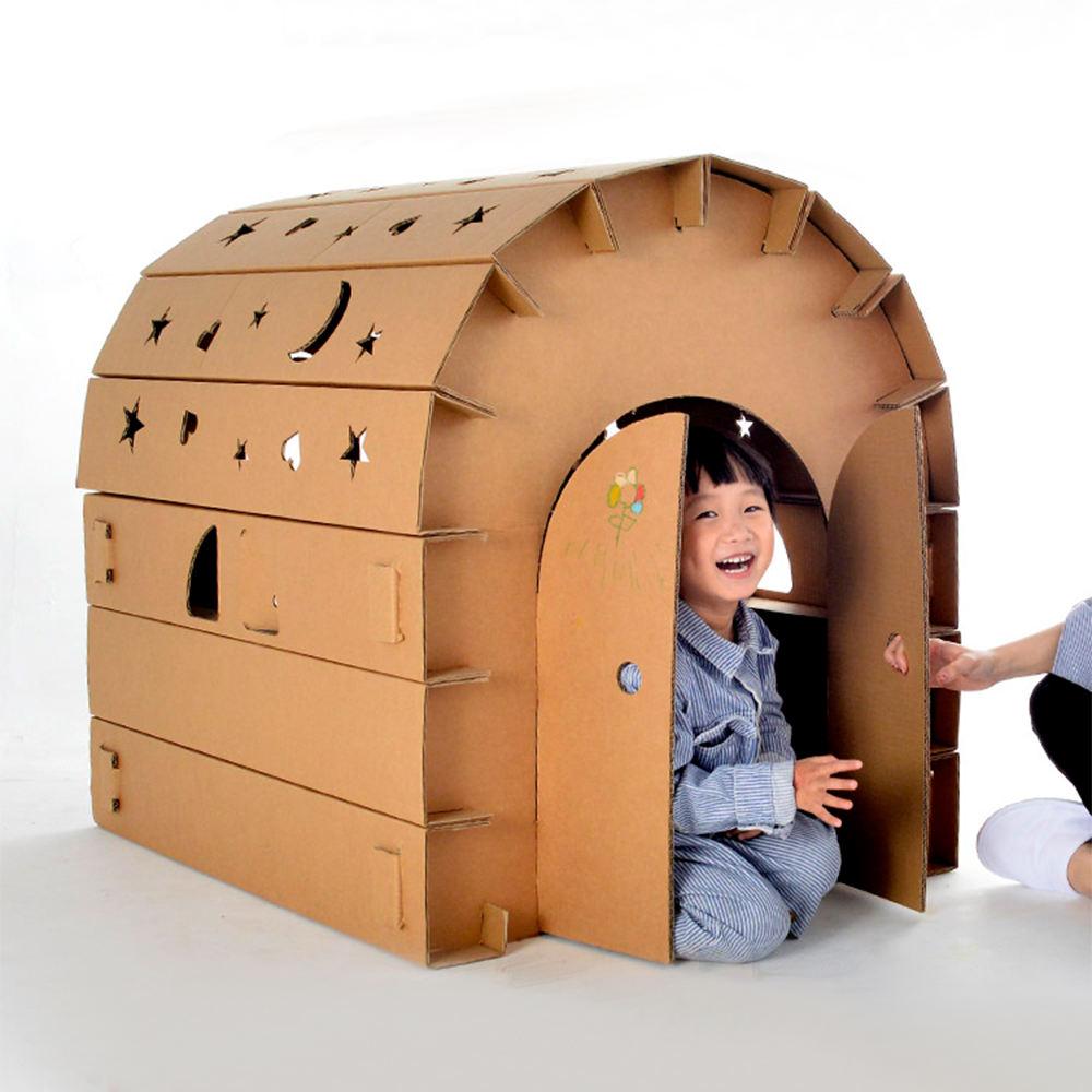Los niños <span class=keywords><strong>Casa</strong></span> de papel de cartón Playhouse en forma de Clips de papel de juguete para niños de la pintura