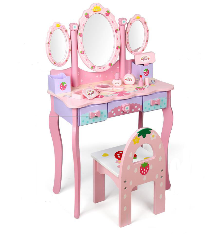 New shape hot selling wooden toys dressing table kids dressing table toys wooden dressing table