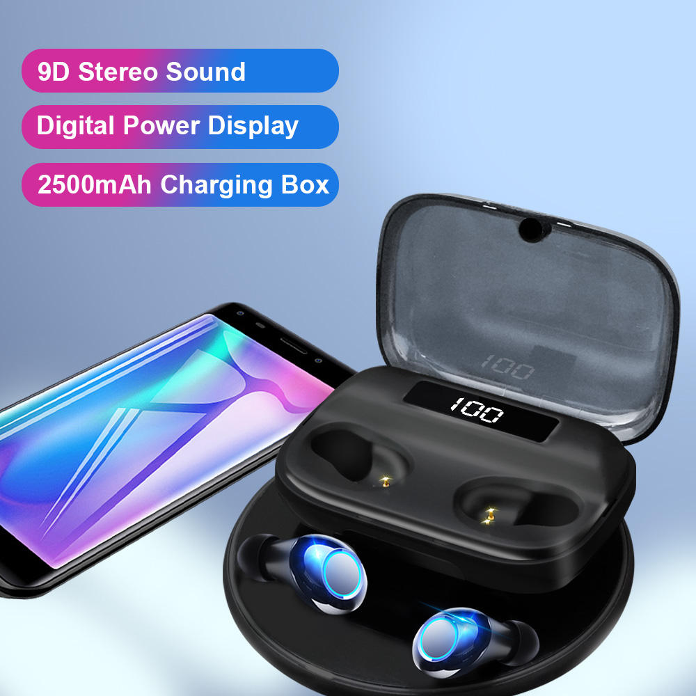 TWS in ear high quality oem headphone earphone ear buds with power bank for android phones