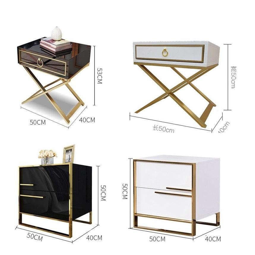 luxury high gloss white bedside table bedroom furniture lamp table bed side table Nightstand