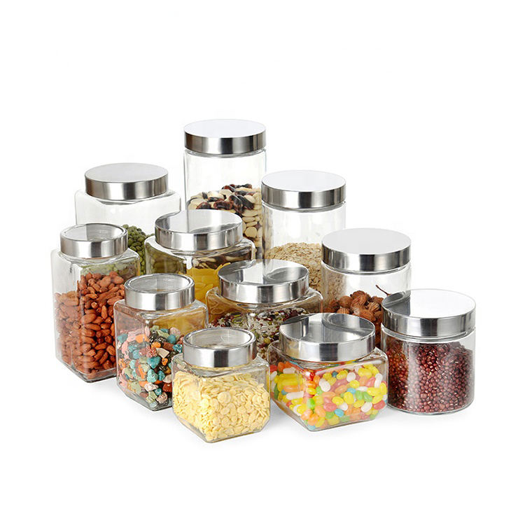 Kitchen storage bulk square spice jars with stainless steel lid