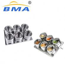 Kitchen Cruet Set Stainless Steel Salt Sugar Pepper Shaker Spice Rack Magnetic Spice Tins