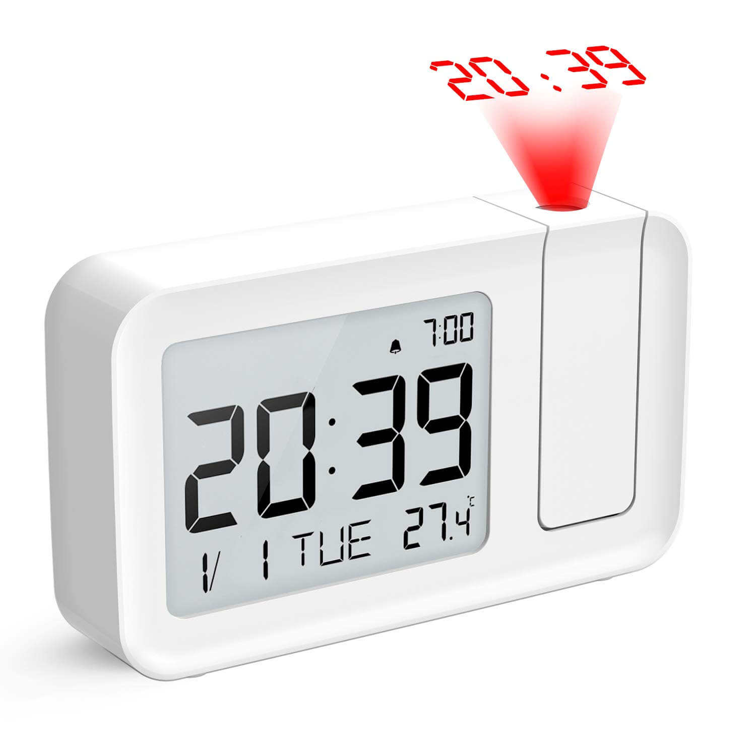 Electronic LCD Projector Alarm Clock Time Temperature Digital Display Desk Table Bedside Clocks