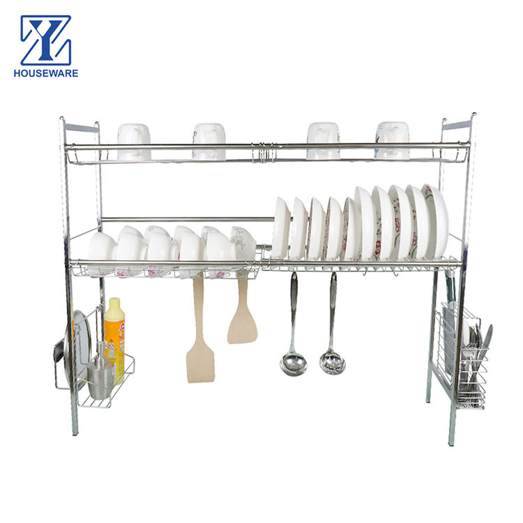 Adjustable Stainless Steel Plate Holder Dish Drainer Shelf Kitchen Drainning Dish Plate Racks for Kitchen Over Sink
