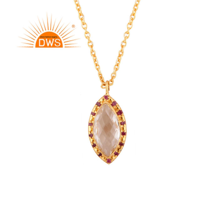 Glorious Crystal and Ruby Gemstone Pendant Jewelry Wholesale 24k Yellow Gold Plated Silver Chain Pendant Necklace