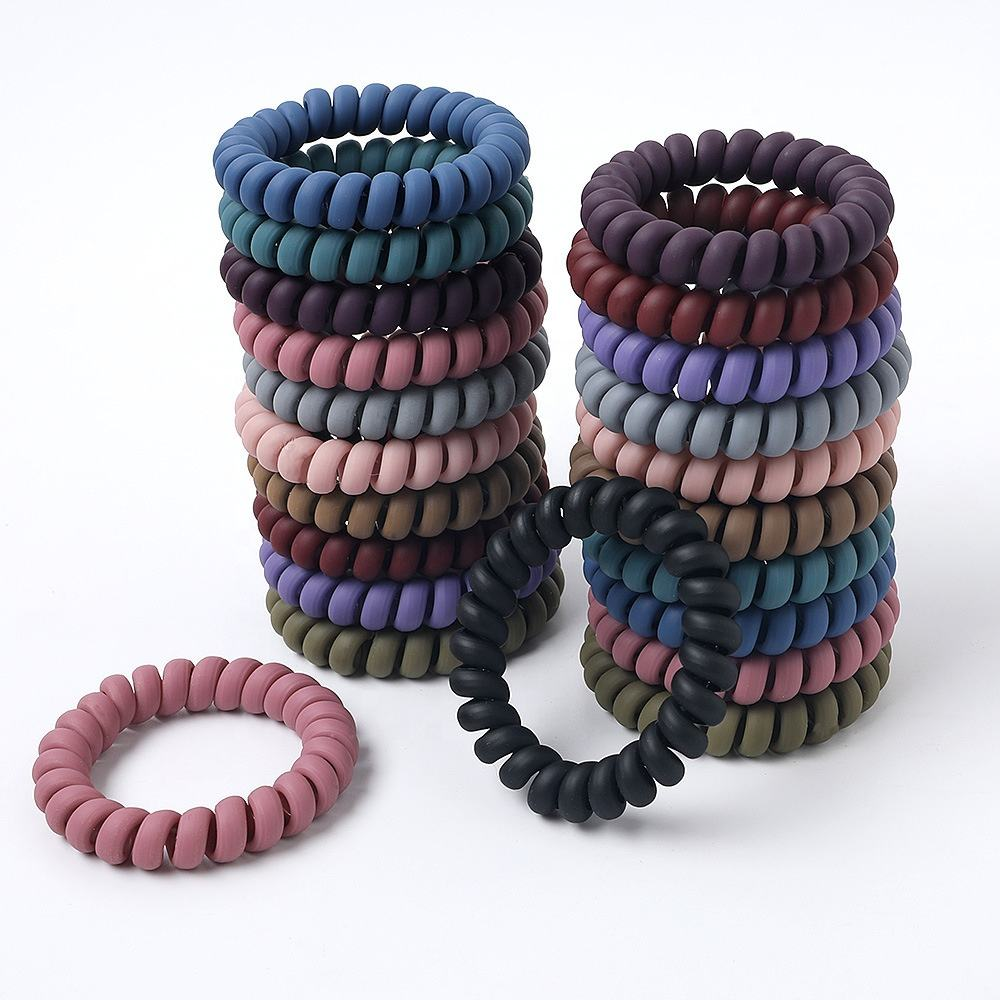 Hot Selling Women Fashion Spiraled Rubber Band Elastic Telephone Hair Ties