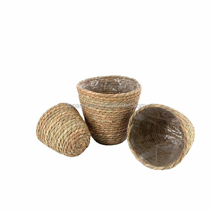 Amazon hot sale Seagrass Planter Basket Woven Plant Pot outdoor Flower Pots Cover Storage Basket Plant Containers (3-Packs)