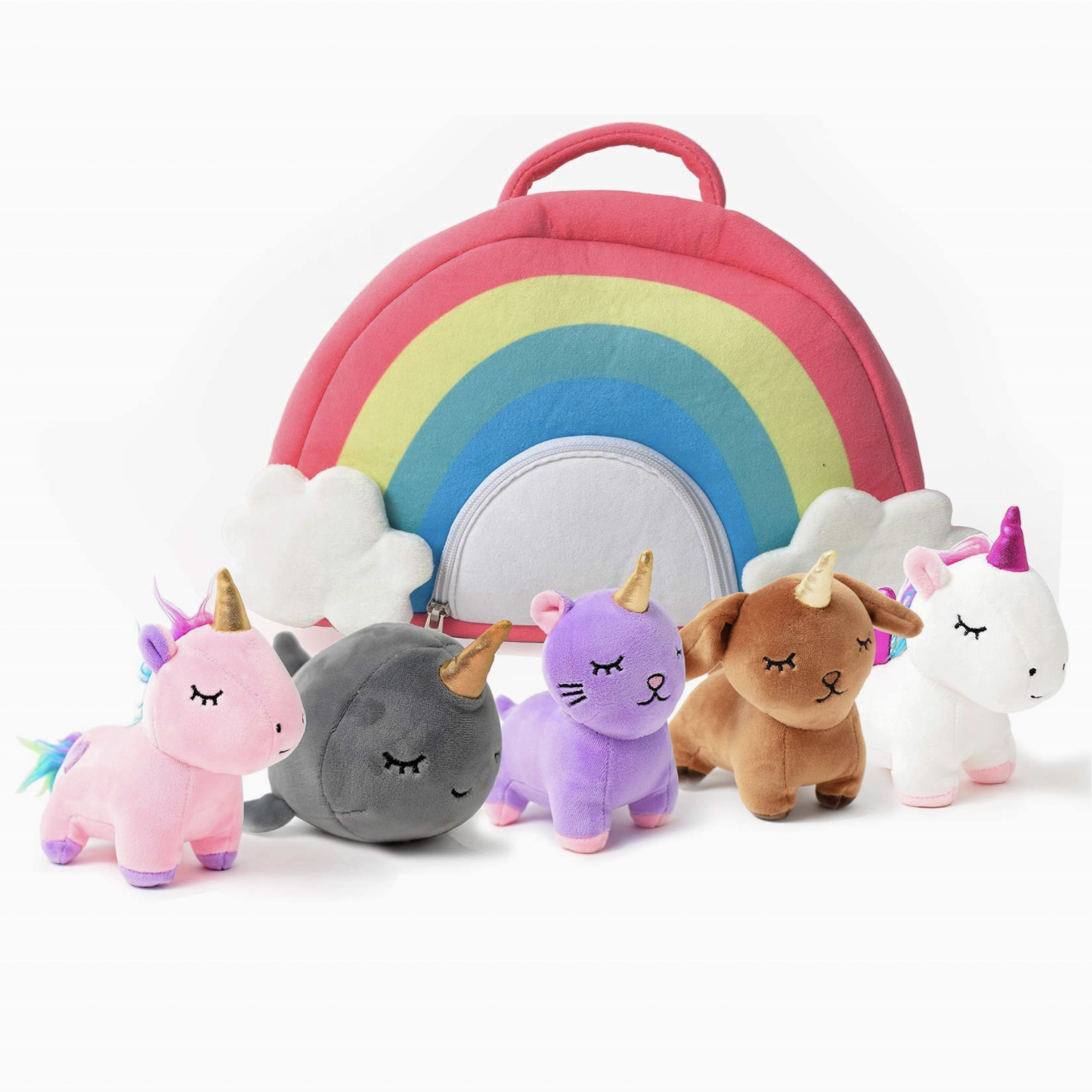 Unicorn Toys Stuffed Animal Gift Plush Set with Rainbow Case 5 Piece soft animal with 2 Unicorns, Kitty, Puppy, Narwhal,Toddler