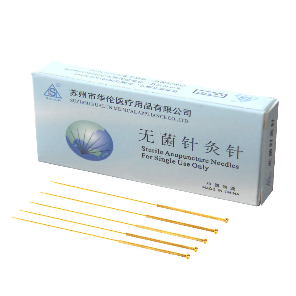 sterile gold plated acupuncture needles in PE bag (500pcs/box) for single use