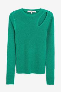 Sparkle Groen Zwart Cut-Out Hollow Out Lange Mouwen O-hals Ronde Kraag Slim Bodycon Truien Truien Vesten Jumpers
