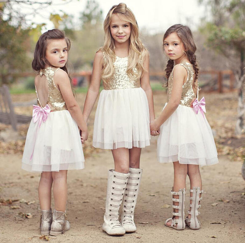 latest pattern design children blouse and bow skirt sleeveless summer sequin dress kids for baby girls clothing