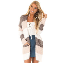 2019 High Quality Women  Fluffy Design Oversized Knitted Ladies Winter Cardigan