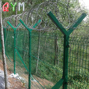 Y Post Galvanized Concertina Razor Barbed Wire Security Airport Fence