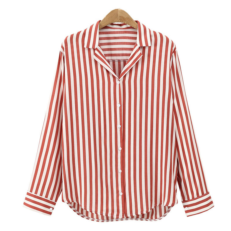 Women Long Sleeve Work Shirts Women Office Tops Striped Blouse For Business
