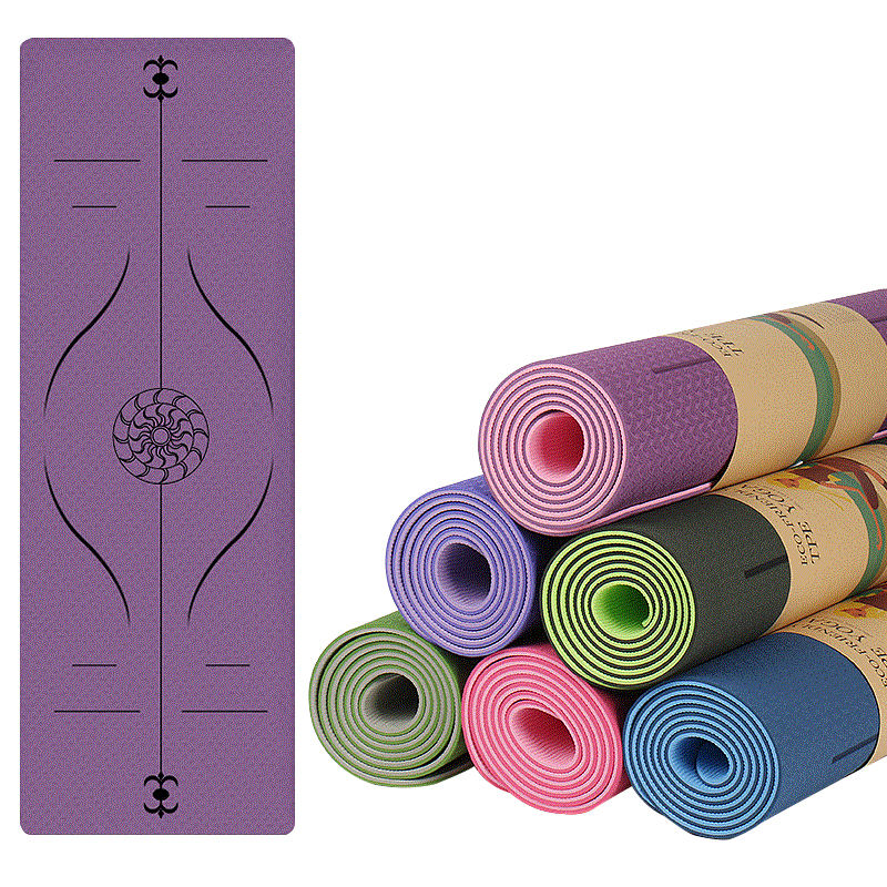 TPE material yoga mat double color position line mat yoga light weight yoga pads