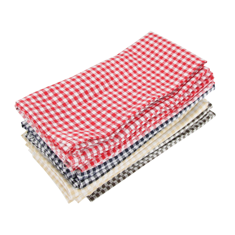 Hot selling cotton plaid weave printed kitchen tea towel set flour sack dish towel