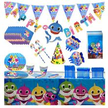 144PCS Baby Shark Birthday Party Supplies Birthday Balloon Decoration for Kids Cutlery Plates Cake Topper Girl Boy Baby Shower