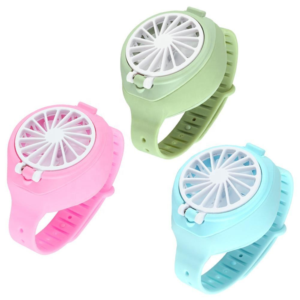 2020 Hot sells 3-speed settings hand fan electric watch-shape body pocket fan USB charging Easy to operate mini fan