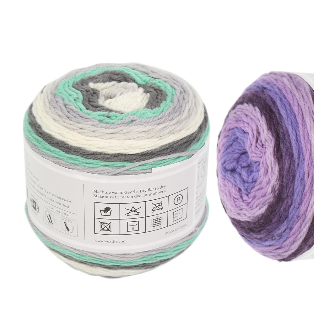 china caron roll crochet melange soft merino wool acrylic cap gradient cotton cheap colorful ball bobbel cake yarn
