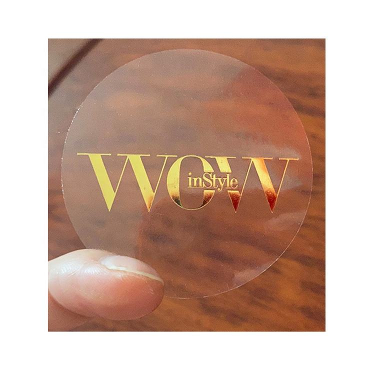 ST-27-1 High quality custom logo gold foil stamping small round clear pvc adhesive label sticker