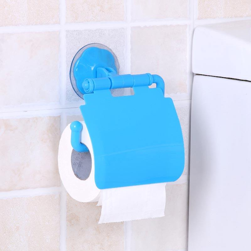 Wall Mounted Sucker Toilet Paper Holder Shelf Tissue Rack Plastic Toilet Roll Paper Tray Paper Towel Rack Bathroom Organizer