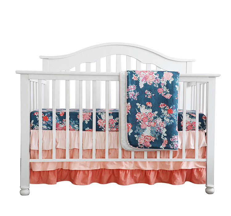 Minky Blanket Crib Rail Cover Peach Girl Cot Set Floral Ruffled Crib Skirt 3 pcs Set Coral Navy Floral Baby Crib Bedding Set