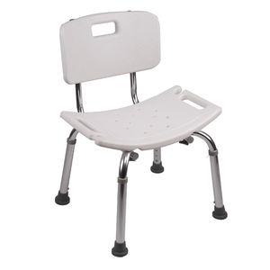 La FDA de baño blanco Silla de ducha baño silla altura ajustable de aluminio para ancianos y discapacitados